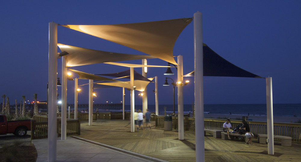Fabric Sail Shade Structures For Sun Protection At