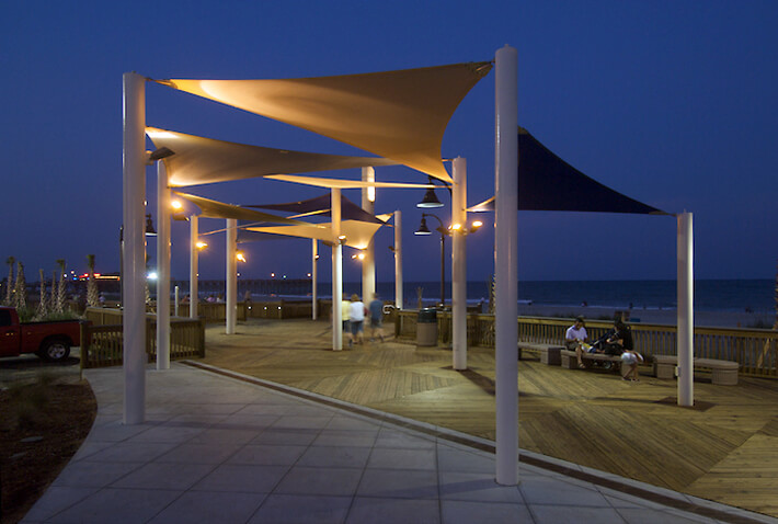 Shade Systems fabric shade structures with lighting for night use ...