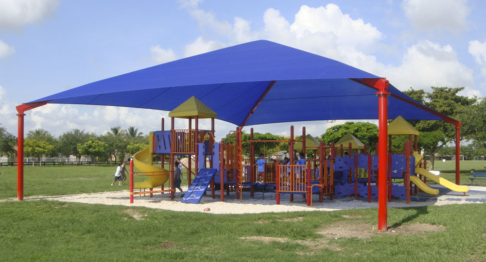 Fabric Shade Structures For Sun Protection At Playgrounds