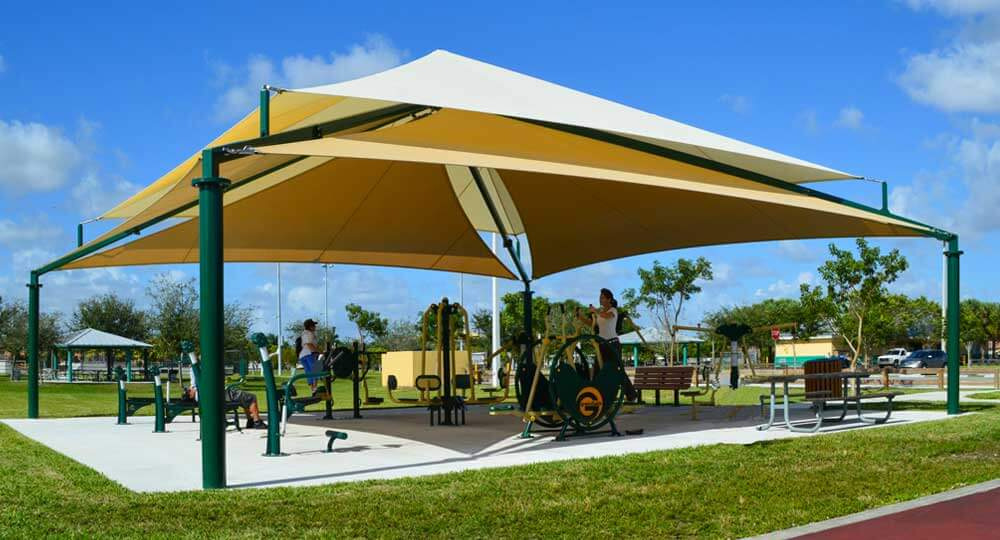 Shade systems fabric structures for sun protection on for Sun shade structure