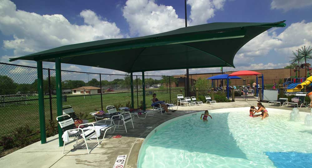 Shade Systems Fabric Structures For Sun Protection At Pools