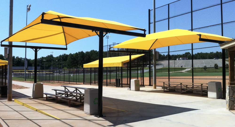 Shade systems for sun protection at bleachers dugouts for Shade cloth san diego