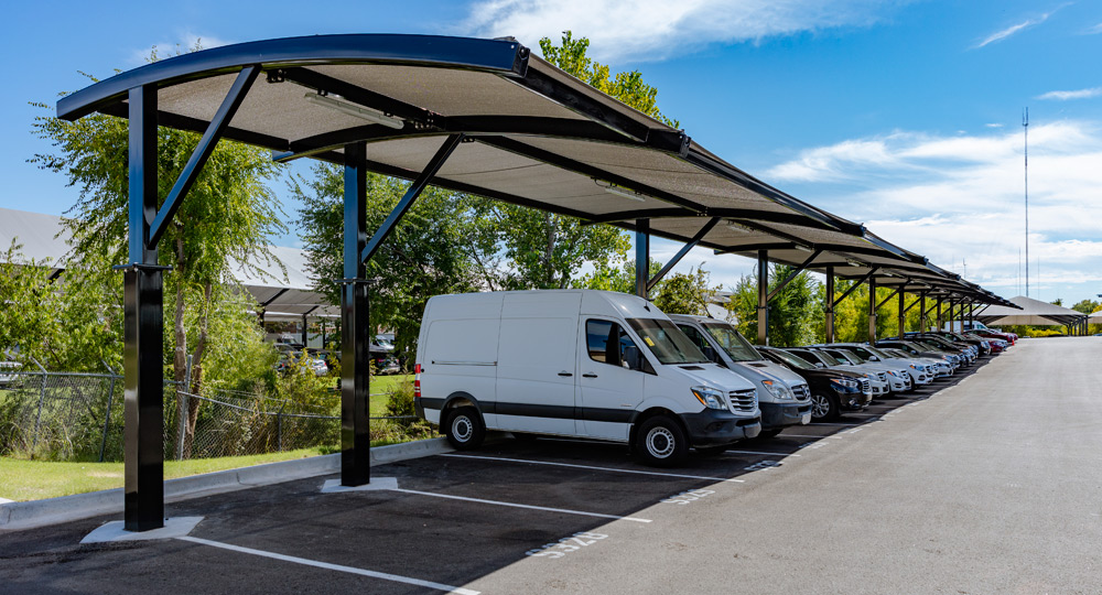 Fabric Shade Structures For Car And Vehicle Parking U V Protection