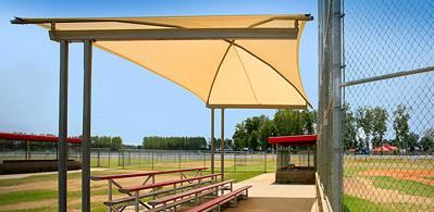Shade Systems For Sun Protection At Bleachers Dugouts
